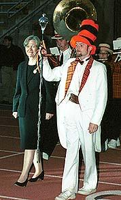 President Tilghman researches the arts at her installation, 2001: orange hair too.